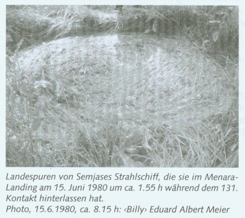 "Landing tracks from Semjase's Beamship, which she left behind in the Menara Landing on June 15th, 1980 at about 1:55am during the 131st Contact. Photo, 6/15/1980, about 8:15am: ""Billy"" Eduard Albert Meier"