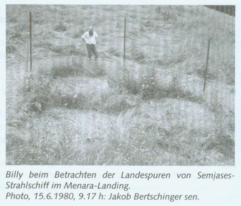 Billy looking at the landing tracks from  Semjase's Beamship in the Menara Landing. Photo, 6/15/1980, 9:17am: Jakob Bertschinger Sr.